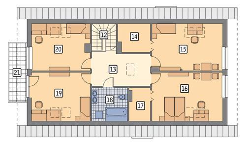 Rzut poddasza POW. 118,1 m²