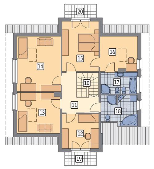 Rzut poddasza POW. 108,9 m²