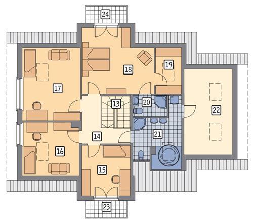 Rzut poddasza POW. 130,9 m²