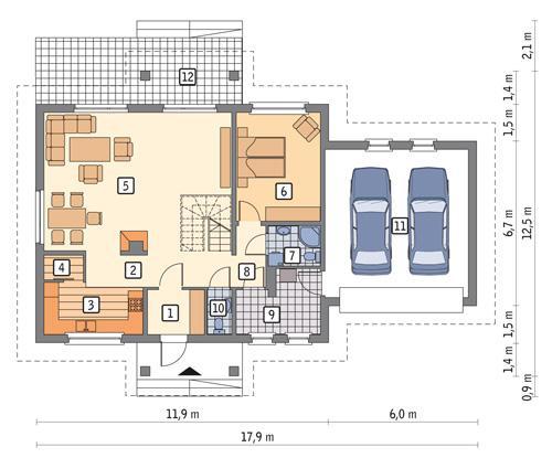 Rzut parteru POW. 130,4 m²