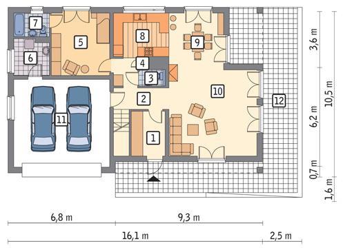 Rzut parteru POW. 124,6 m²