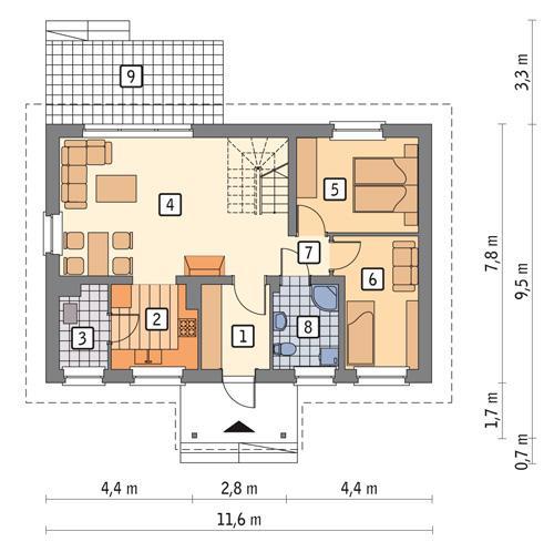 Rzut parteru POW. 68,7 m²