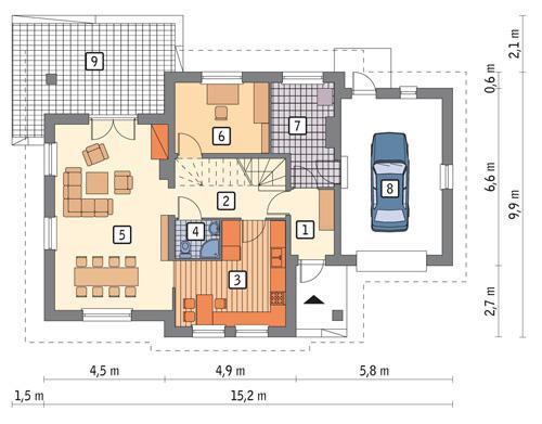 Rzut parteru POW. 95,2 m²