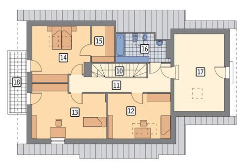 Rzut poddasza POW. 108,8 m²
