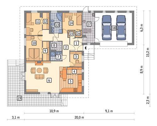 Rzut parteru POW. 183,6 m²