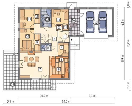 Rzut parteru POW. 183,8 m²