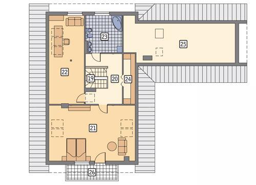 Rzut poddasza POW. 177,2 m²