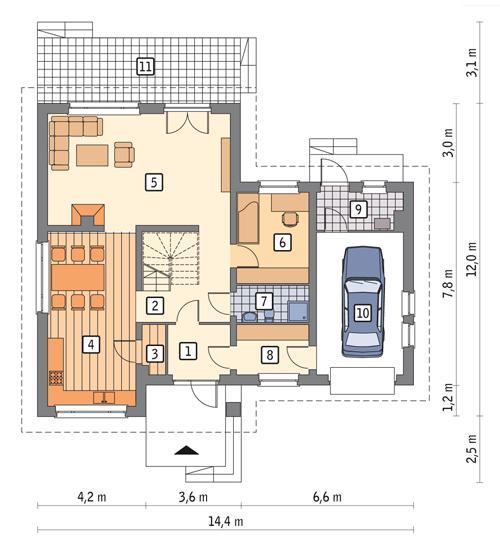 Rzut parteru POW. 109,7 m²