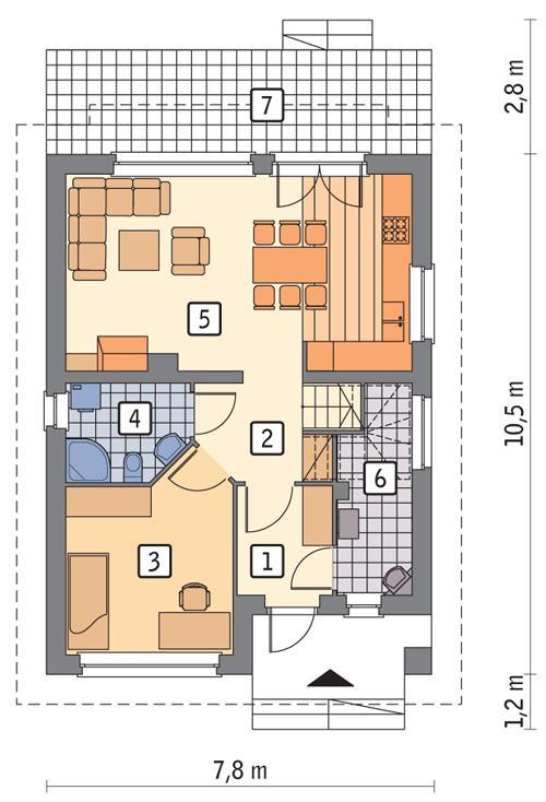 Rzut parteru POW. 58,2 m²