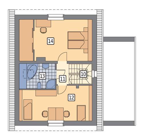 Rzut poddasza POW. 63,6 m²