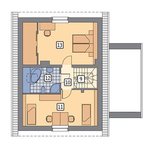 Rzut poddasza POW. 63,8 m²