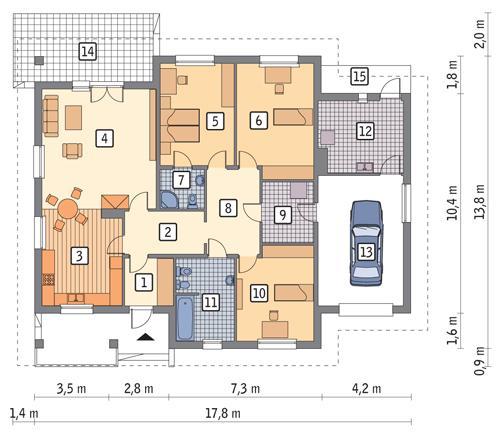Rzut parteru POW. 175,6 m²