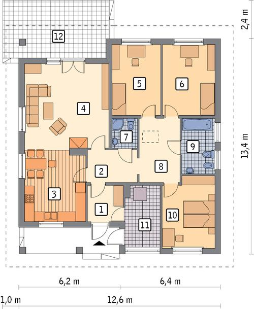 Rzut parteru POW. 121,9 m²