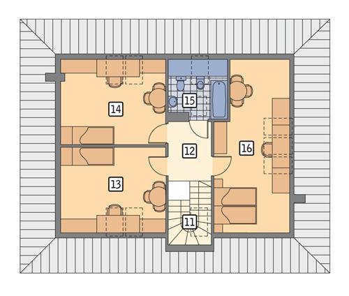 Rzut poddasza POW. 86,7 m²