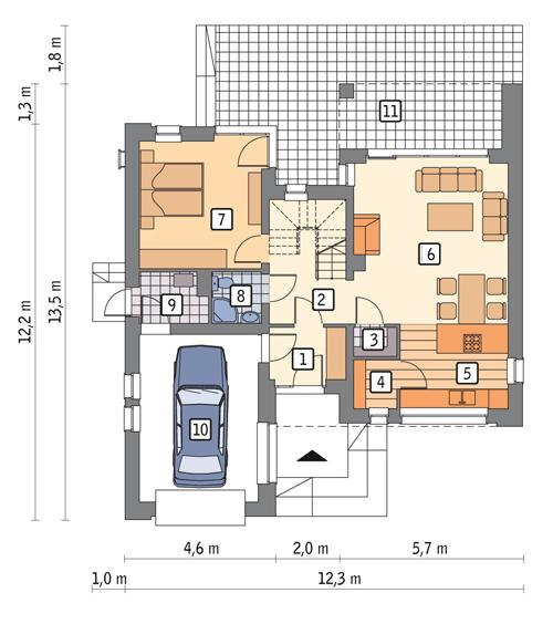 Rzut parteru lustro POW. 86,5 m²