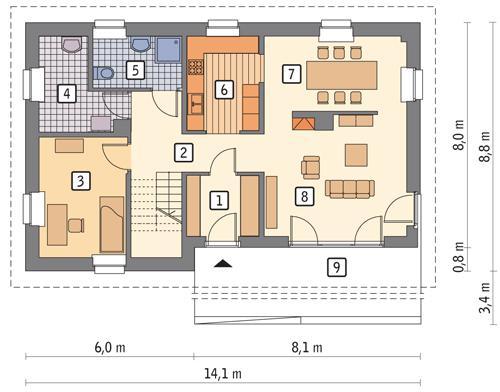 Rzut parteru POW. 88,2 m²