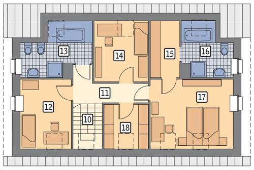 Rzut poddasza POW. 85,9 m²