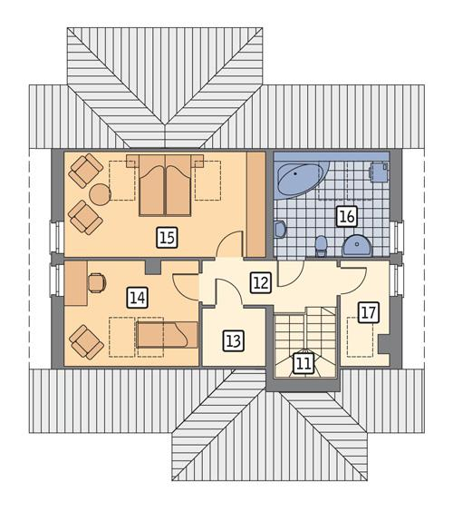 Rzut poddasza POW. 65,9 m²