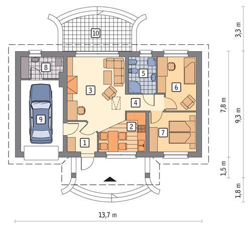 Rzut parteru POW. 82,9 m²