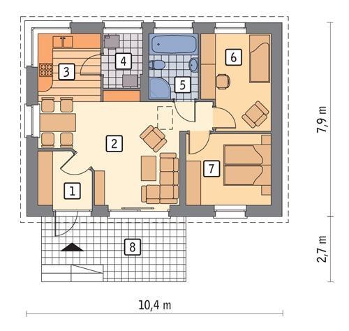 Rzut parteru POW. 61,9 m²