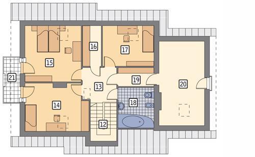 Rzut poddasza POW. 104,9 m²