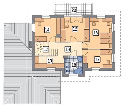 Rzut piętra POW. 83,5 m²