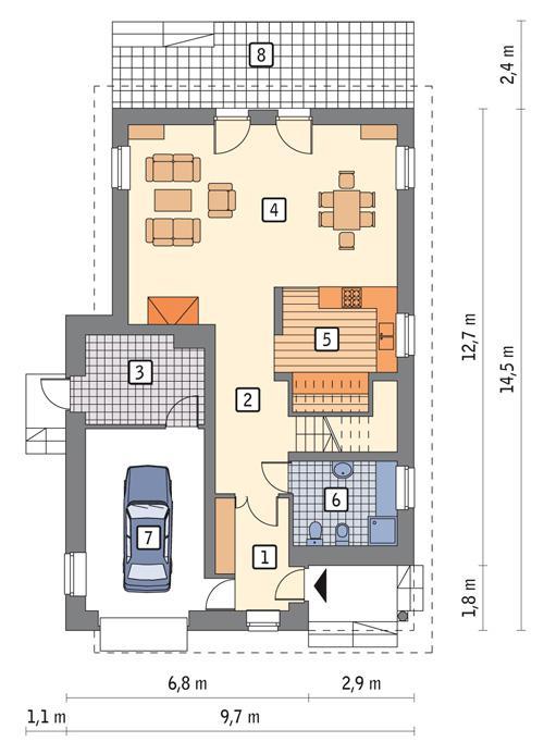 Rzut parteru POW. 93,6 m²