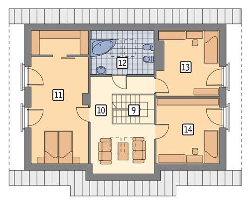 Rzut poddasza POW. 85,2 m²