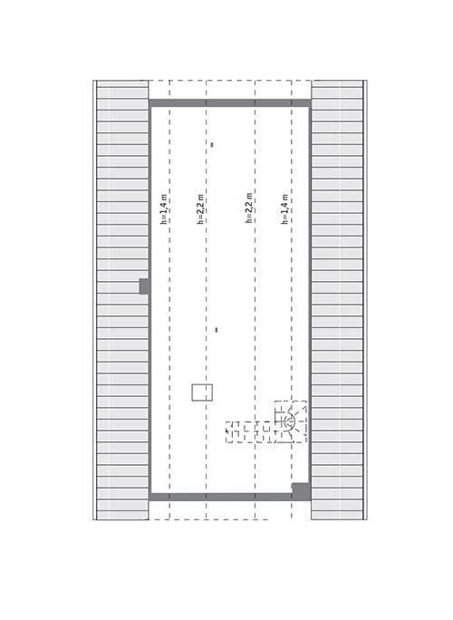 Rzut poddasza: do indywidualnej adaptacji (57,4 m2 powierzchni użytkowej)