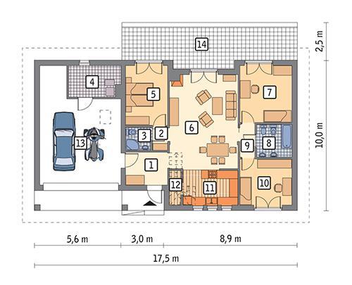 Rzut parteru POW. 132,4 m²