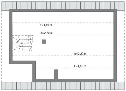 Rzut poddasza: do indywidualnej adaptacji (42,8 m2 powierzchni użytkowej)