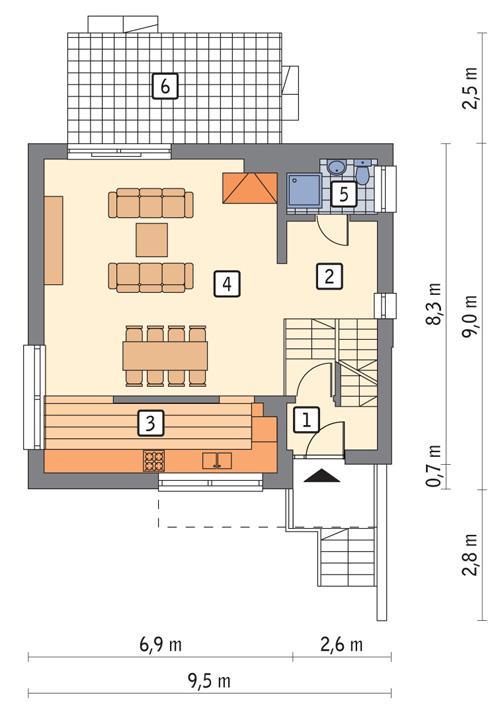Rzut parteru POW. 65,4 m²