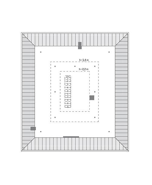 Rzut poddasza lustro: do indywidualnej adaptacji (36,7 m2 powierzchni użytkowej)