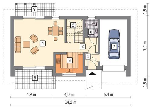 Rzut parteru POW. 69,7 m²