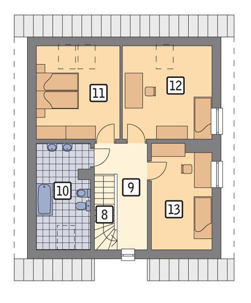 Rzut poddasza POW. 68,6 m²