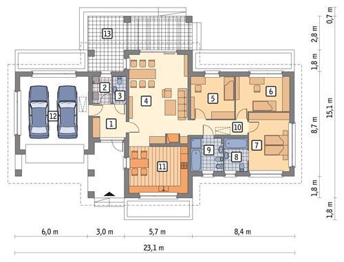 RZUT PARTERU POW. 164,4 m²