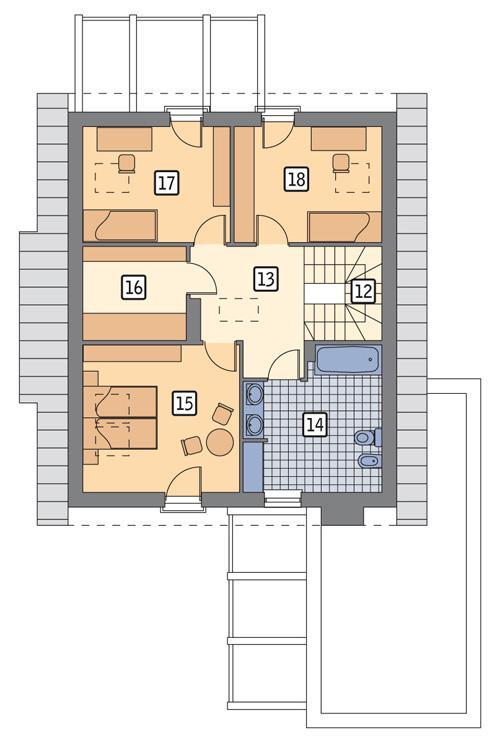 Rzut poddasza POW. 75,3 m²