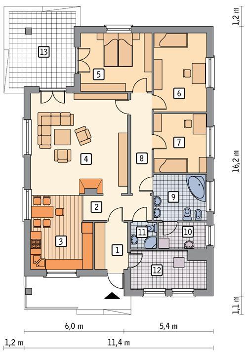 Rzut parteru POW. 134,2 m²