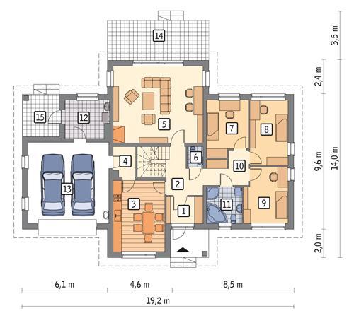 Rzut parteru POW. 163,0 m²