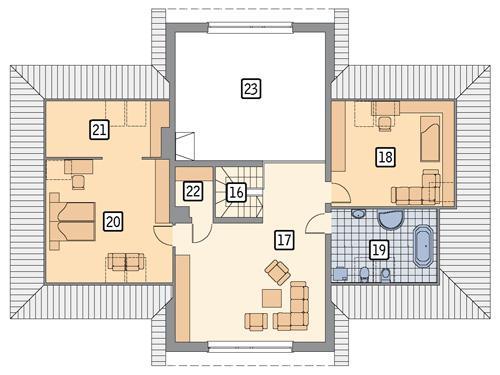 Rzut poddasza POW. 123,0 m²