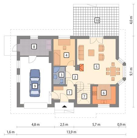 Rzut parteru POW. 91,2 m²