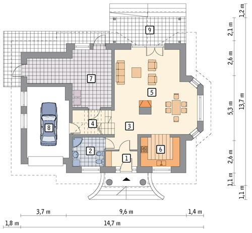 Rzut parteru POW. 105,6 m²