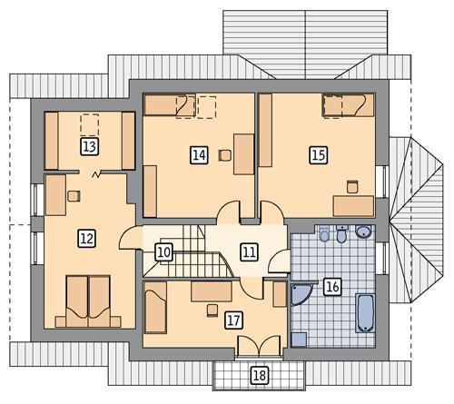 Rzut poddasza POW. 107,5 m²