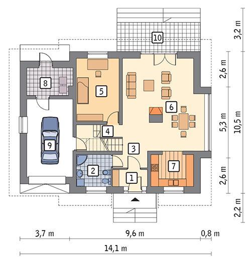 Rzut parteru POW. 103,4 m²