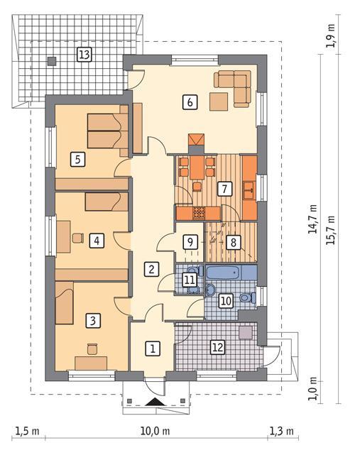 Rzut parteru POW. 111,2 m²