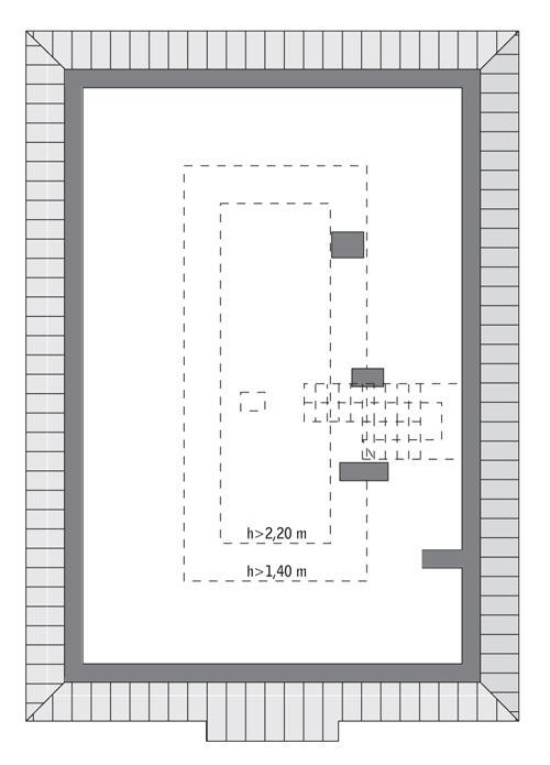 Rzut poddasza: do indywidualnej adaptacji (29,5 m2 powierzchni użytkowej)