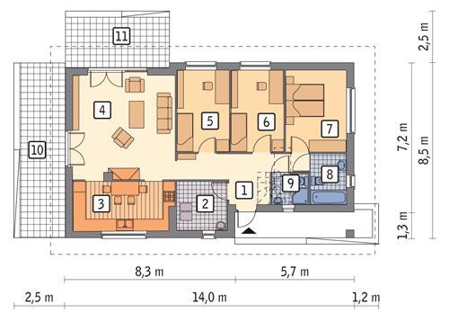 Rzut parteru POW. 89,8 m²