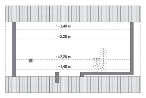 Rzut poddasza: do indywidualnej adaptacji (44,6 m2 powierzchni użytkowej)
