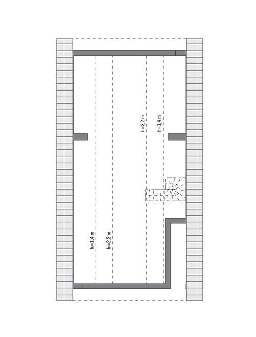 Rzut poddasza: do indywidualnej adaptacji (55,3 m2 powierzchni użytkowej)