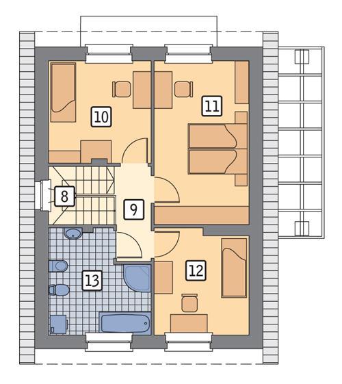 Rzut poddasza POW. 55,8 m²